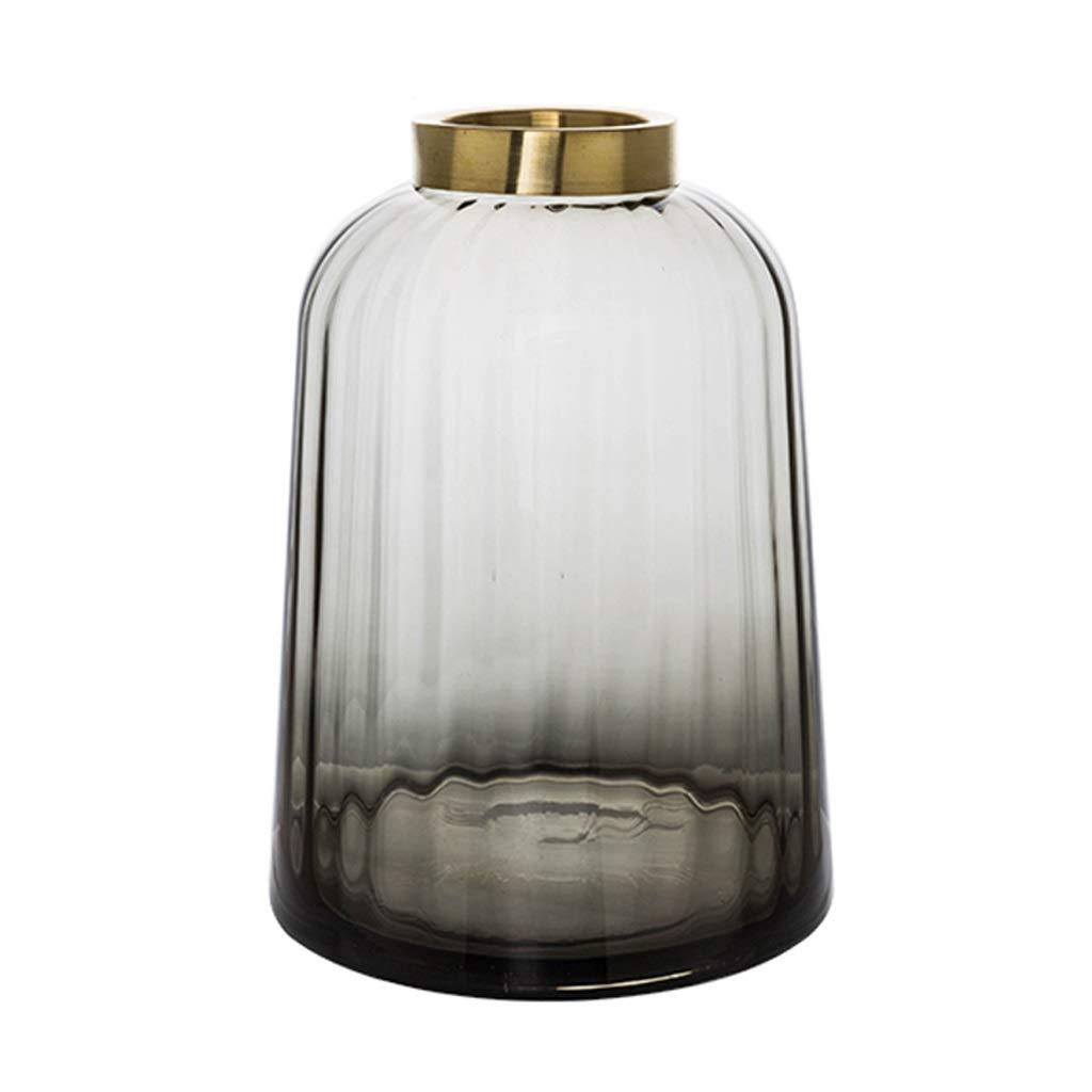 20.5センチメートルガラスフラワー花瓶ジャー狭い口シンプル水差し水耕栽培植物、リビングルームのための装飾品窓辺ホームアクセサリー、2色とサイズオプショングレー (Color : Gray, Size : L) B07SWJSW7H Gray Large
