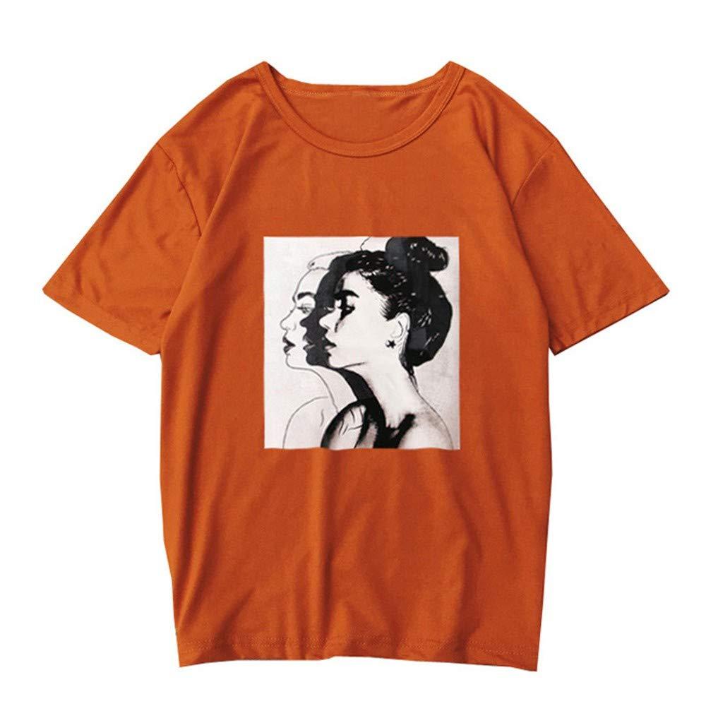 Frauen Sommer Mode L/ässig Print Kurzarm Bluse Lose Top T-Shirt PlusDamen Kurzarm T-Shirt mit Print