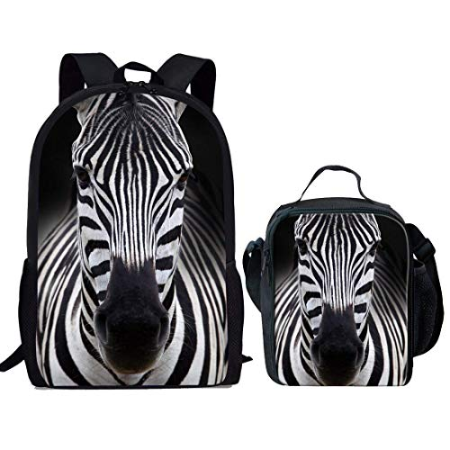 HUGS IDEA Children School Backpack Striped Zebra Head Pattern Kid Schoolbag and Lunch Bags Sets