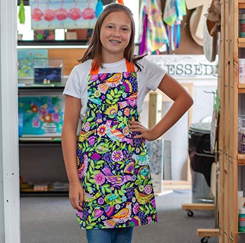 Handmade Kids Folk Birds Apron Gift for Kitchen Crafts Art from Sara Sews, Inc.