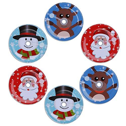 Christmas Mason Jar Lids with Hole Fit Regular Mouth Mason Jar Glasses, Metal Lids with Straw Hole & Silicone Grommet Seal,Ball Jar Storage Caps For Mason Jars Mug 6 packs