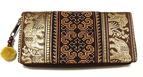 Wallet by JP Embroidery Elephant Flower Zipper Wallet Purse Clutch Bag Handbag Iphone Case Handmade for Women, Brawn Wallet