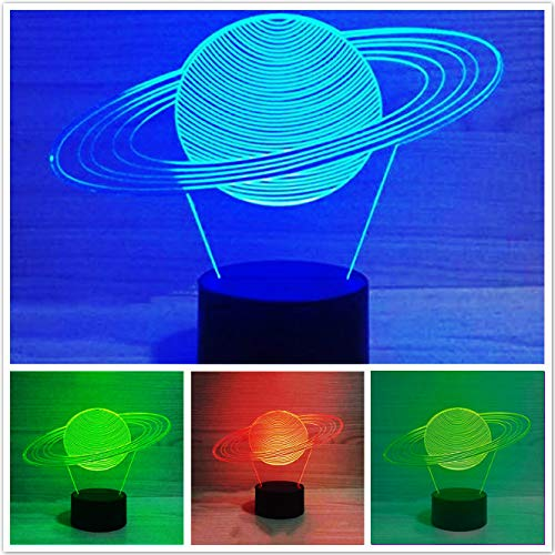 Jinnwell 3D Solar System Night Light Lamp Illusion Night Light 7 Color Changing Touch Switch Table Desk Decoration Lamps Perfect Christmas Gift with Acrylic Flat ABS Base USB Cable Toy