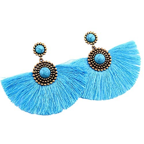 Redvive Top Creative Turquoise Geometric Long Tassel Pendant Earrings Ladies Jewelry