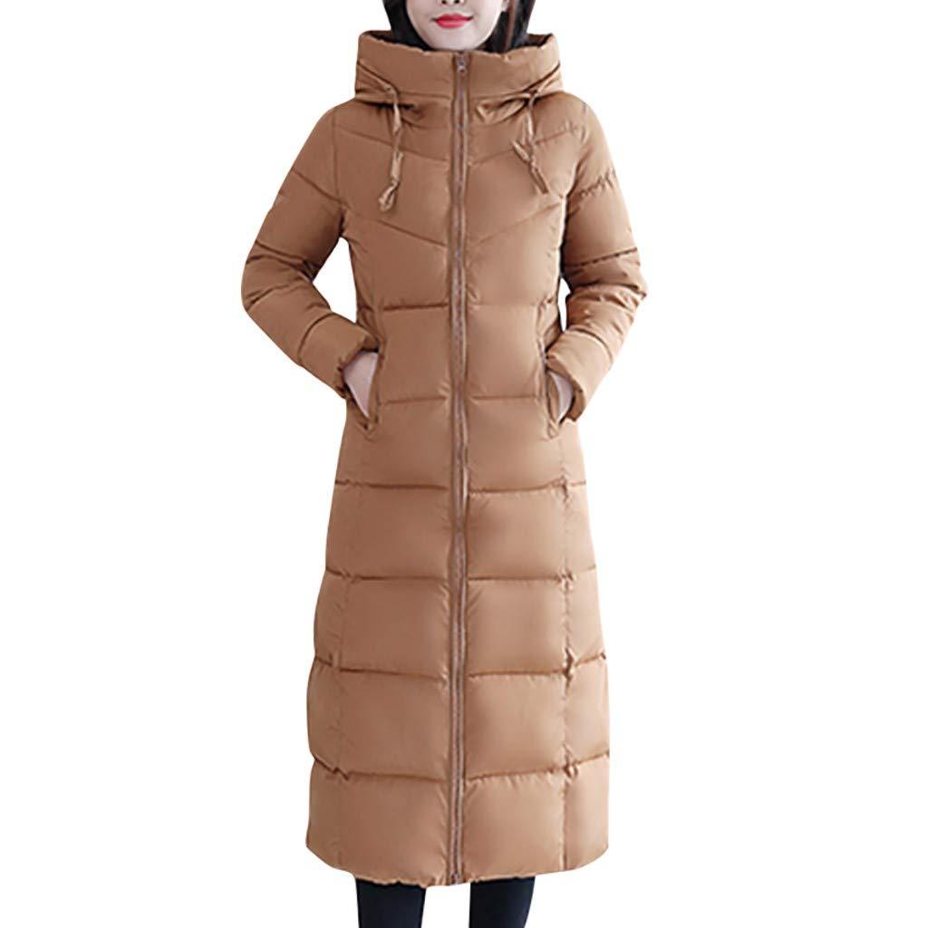 Fashionhe Women Warm Down Jacket Slim Outwear Knee Length Thick Hoodie Coat Long Sleeve Casual Loose Top(Khaki.XXL) by Fashionhe