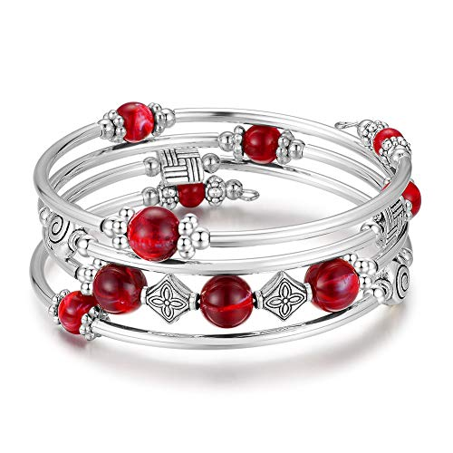 Beaded Pearl Bangle Wrap Bracelet - Fashion Bohemian Jewelry Multilayer Charm Bracelet with Thick Silver Metal Beads, Gift for Women and Girls (Dark Red)