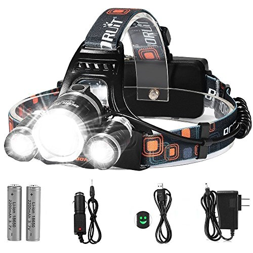 LED Headlamp, 5000 Lumens Max} 4 Modes Waterproof Head Flashlight Light with 2 Rechargeable Batteries, USB Cable, Wall Charger and Car Charger for Outdoor Sports