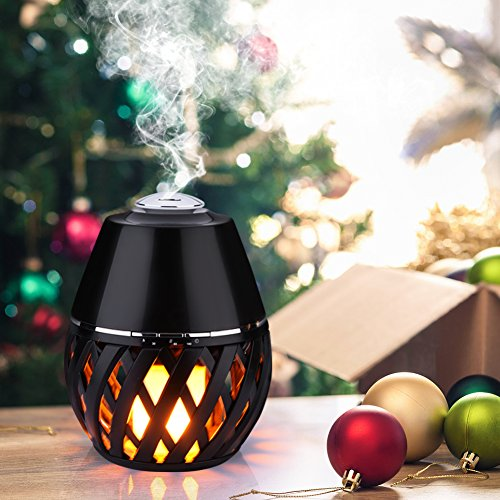 150ml Mini Aroma Essential Oil Diffuser, Ultrasonic Cool Mist Humidifier with Auto Shut-off and Flick Flame Led Lamp Function for Office Home,Yoga Spa,Office,Baby Room