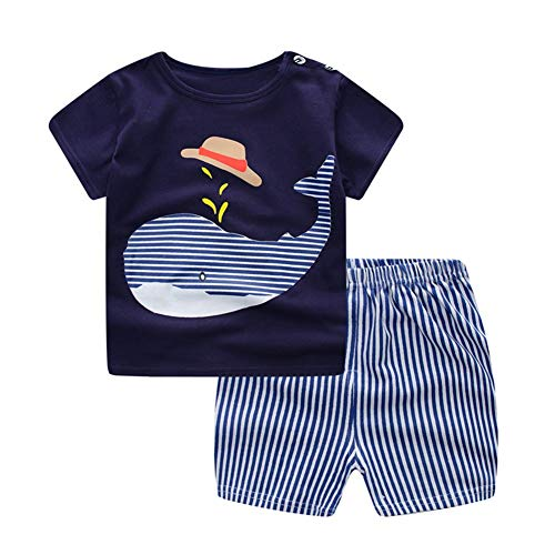 Baby Little Boy Outfits Cartoon Whale Print T-Shirt Top Stripe Pants Summer Short Set