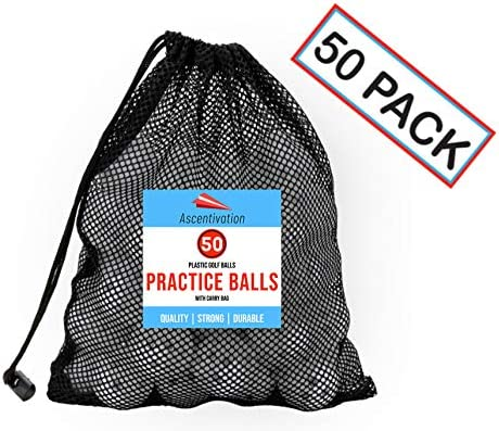 Ascentivation 50 Pack Plastic Golf or Baseball Training Balls Drawstring Carry Bag Included Reduced Flight Mini Wiffle Balls Indoor and Outdoor Practice, Driving Range, Swing Training, Batting