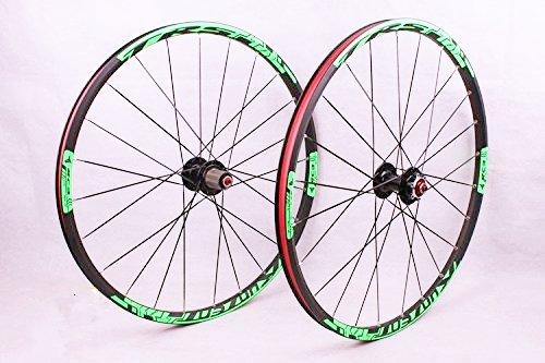 2016 newest MTB mountain bike wheel front 2 rear 5 sealed bearing hub disc wheelset wheels 27.5inch flat spokes (27.5inch green) by Whool