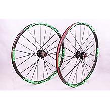 2016 newest MTB mountain bike wheel ultra light front 2 rear 5 sealed bearing hub disc wheelset wheels 26 27.5inch flat spokes (26inch green)