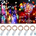 Twinkle Star 20led 6.5 FT Fairy Copper String Lights Cell Battery Operated with Screwdriver, Firefly Lights Starry String Lights for Indoor, Outdoor, Party, Table Decoration, 6 Pack