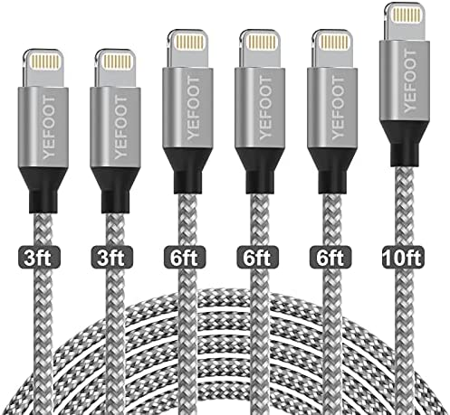 YEFOOT [MFi Certified] iPhone Charger 6Pack[3/3/6/6/6/10ft] Fast Charging Compatible iPhone 12Pro Max/12Pro/12/11Pro Max/11Pro and More-Silver&White
