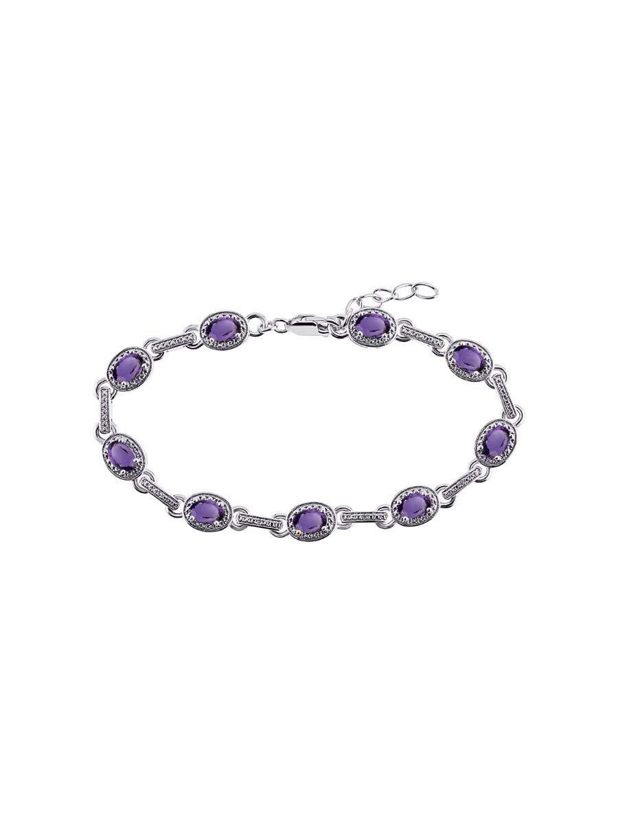 Stunning Amethyst & Diamond Tennis Bracelet Set in Sterling Silver - Adjustable to fit 7'' - 8'' Wrist