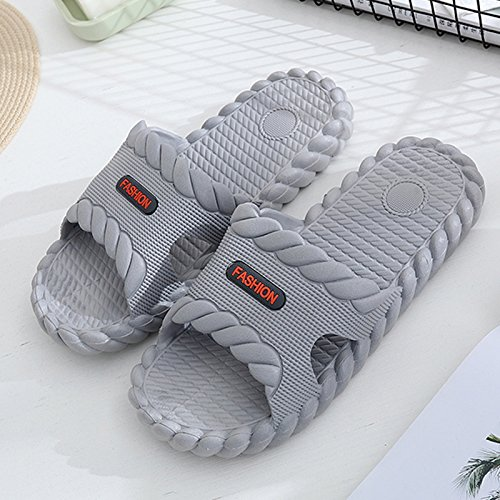 fankou Slippers Male Summer Stay Cool with a Couple of Indoor Slippers Thick Plastic Bath Anti-Slip Bath Slippers Female Soft Bottom,44-45,A- Gray.