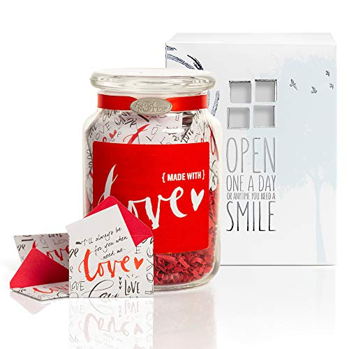 KindNotes Glass Keepsake Gift Jar with Love Messages (for Couples) - Made with Love