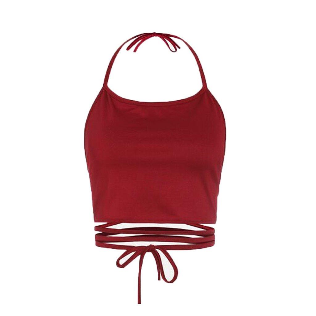 Sale Camisole chaofanjiancai Women Halter Plain Tank Tops Sleeveless Short Vest Casual Summer Blouse (Free, Red)