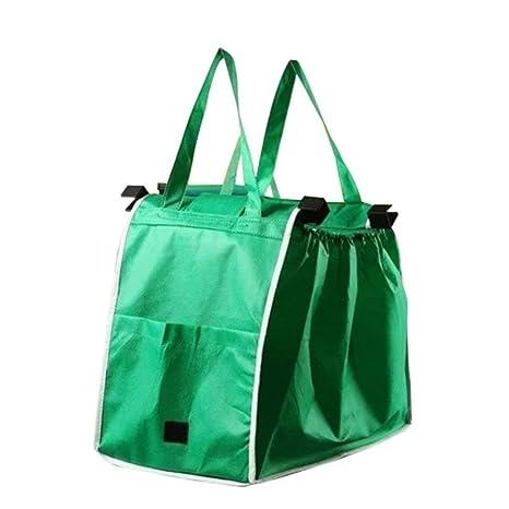 Sanzhileg Bolsos portátiles de Tela Verde Reutilizables, con ...