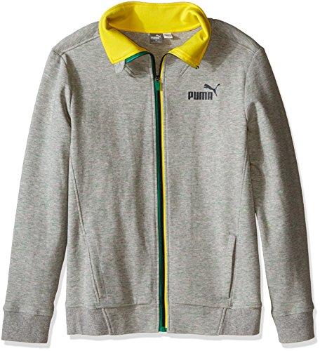 PUMA Big Boys' Fast Track Jacket, Light Grey Heather, Large/14/16