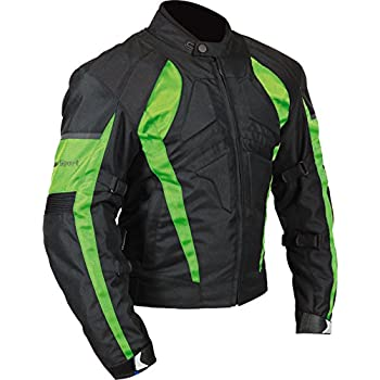 Amazon.com: RAZER MENS MOTORCYCLE LEATHER JACKET ARMOR Green M ...