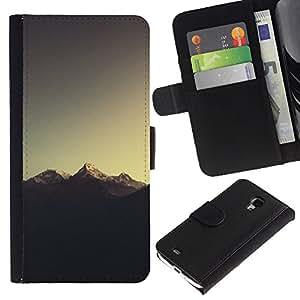 LECELL--Cuero de la tarjeta la carpeta del tirón Smartphone Slots Protección Holder For Samsung Galaxy S4 Mini i9190 -- Montaña Nevada del Everest --