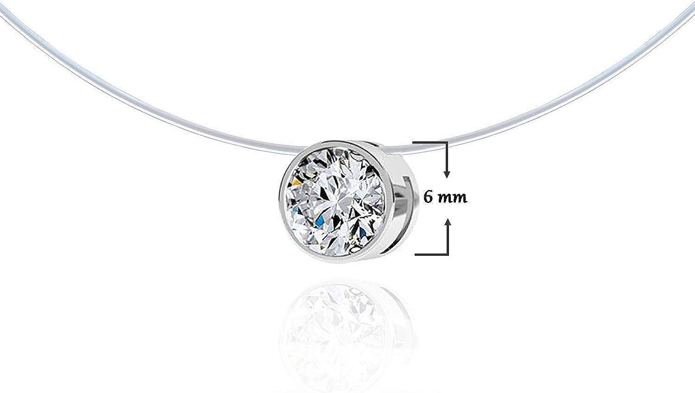 Parure en Plaqu/é OR Solitaire de 6mm Diamant Cristal de Swarovski Fil de P/êche Invisible Boucles Doreilles et Collier Invisible en Fil Nylon