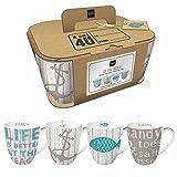 Paperproducts Design Kraft-Boxed Mug Featuring Cabana Design (Set of 4), 14 oz, Multicolor