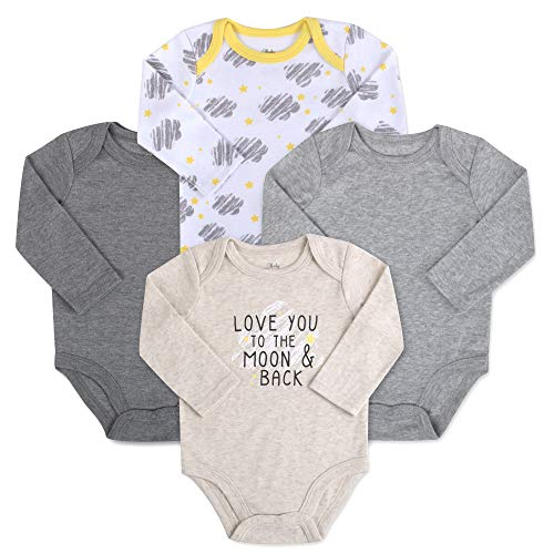 - Baby Essentials 4-Pack Long Sleeved Bodysuits (6 Month, Moon and Back Saying)