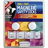 NEW & IMPROVED! - 2 Keys & 4 Locks - Drill-Free Magnetic Safety Cabinet & Drawer Locks - Super Strength 3M Adhesive for Baby Proofing - Easy Tool-Free Installation