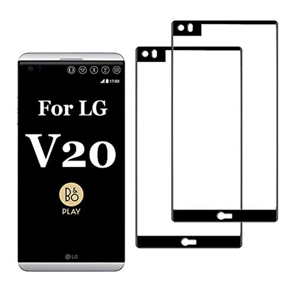 2-Pack Compatible with LG V20 Screen Protector Tempered Glass V 20 Cell Phone Protective Film [HD Clear] [Bubble Free] L G 20V Temper 5.7 inch 2 Pieces (Black)