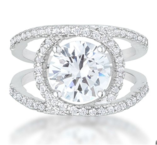 Beloved Sparkles - Marcie Art Deco Solitaire Contemporary Engagement 5ct Cubic Zirconia Ring (5) - Contemporary Ring Settings