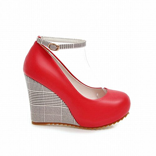High Women's Fashion Buckle Carolbar Shoes Red Heel Court Wedge Plaid Charm wXTddxH6q