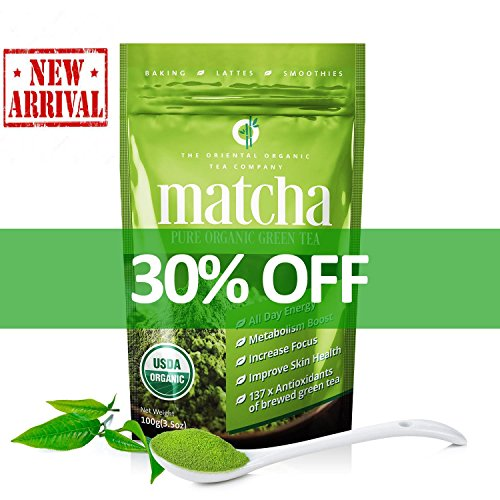 Matcha Green Tea Powder-100% Organic-USDA-(3.5oz) 100 Grams-premium Culinary Grade-Antioxidant-Natural Energy Booster