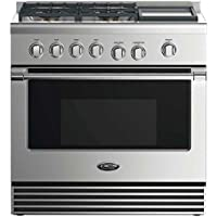 DCS RDV2364GDL 36 Stainless Steel Freestanding 4 Burner Dual Fuel Professional Range with Griddle - Liquid Propane