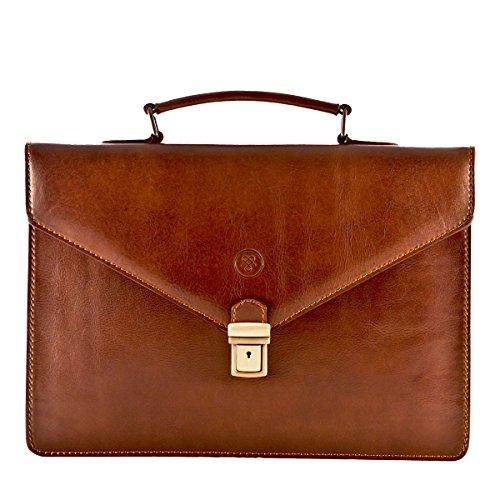 Maxwell Scott Mens Luxury Tan Italian Leather Slim Work Briefcase (The Lorenzo)