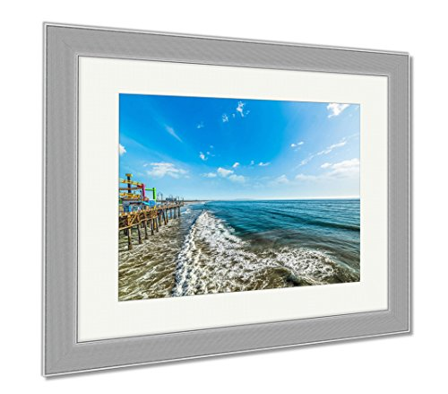 Ashley Framed Prints Santa Monica Pier On A Sunny Day, Wall Art Home Decoration, Color, 30x35 (frame size), Silver Frame, - Santa Is Clean Beach Monica