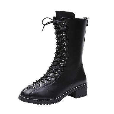 Klassische Stiefel Schnürschuhe Leder Boots Nieten Damen Ie9D2WYHE