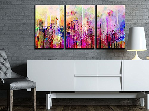 "Wall26 - 3 Piece Canvas Wall Art - Abstract Colorful Splash Artwork - Modern Home Decor Stretched and Framed Ready to Hang - 24""x36\""x3 Panels"