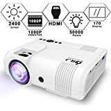 DR. J Professional 2400Lumens Video Projector Compatible with HDMI/VGA/USB/TF/AV/Sound Bar/PS4/WII/XBOX/TV/FireTV Stick/TV BOX/Laptop for Home Entertainment, 1080P Supported