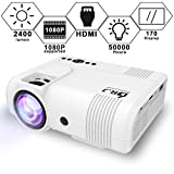 : DR. J Professional 2400Lumens Video Projector Compatible with HDMI/VGA/USB/TF/AV/Sound Bar/PS4/WII/XBOX/TV/FireTV Stick/TV Box/Laptop for Home Entertainment, 1080P Supported