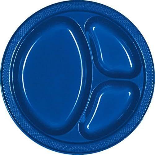 Bright Royal Blue Divided Plastic Plates   10.25