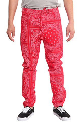 Victorious Men's Offset Bandana Twill Jogger Pants JG858 - RED - Small I6A