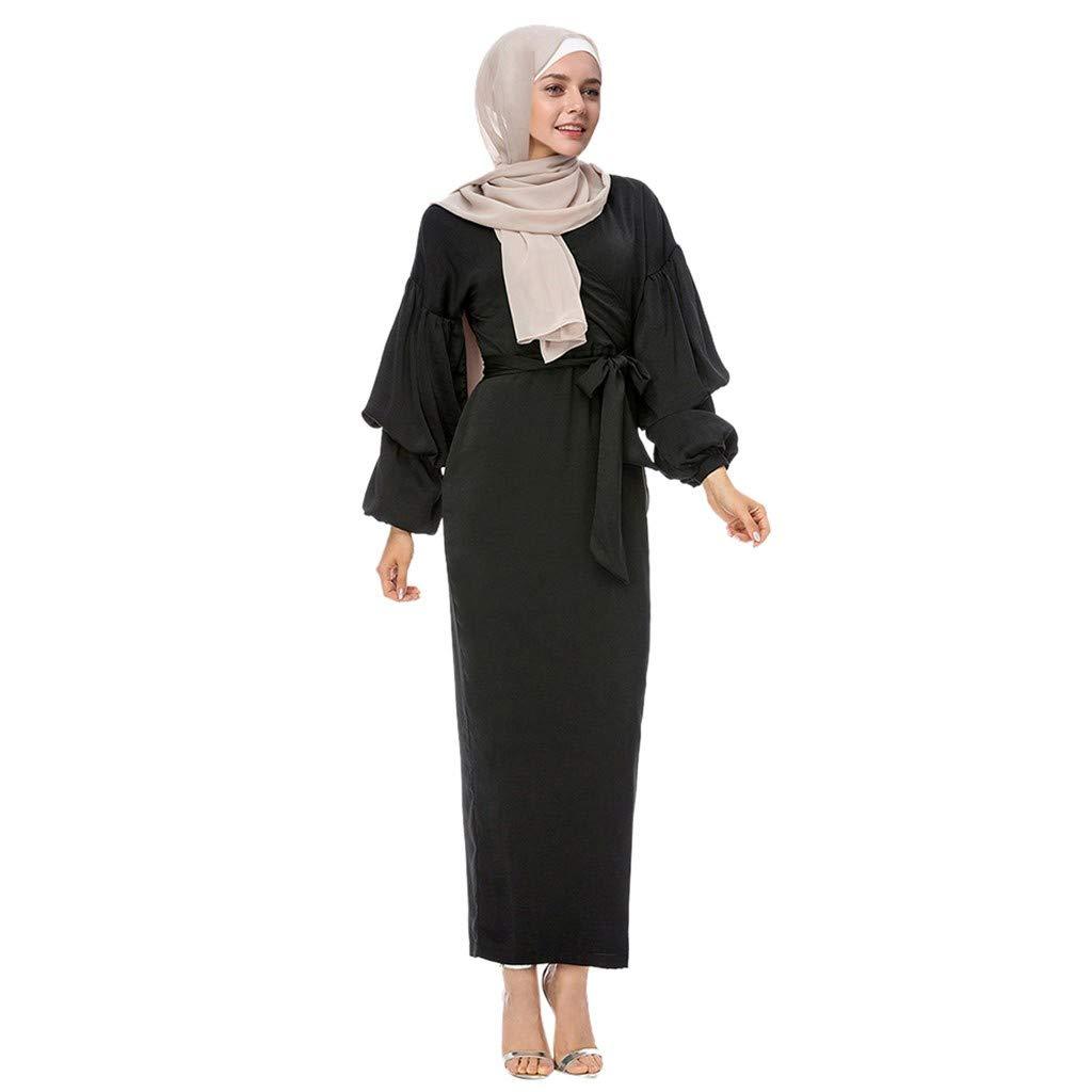 UOFOCO Muslim Modest Maxi Dress Women Abaya Turkey Puff Sleeve Long Robe Kaftan Clothes Black
