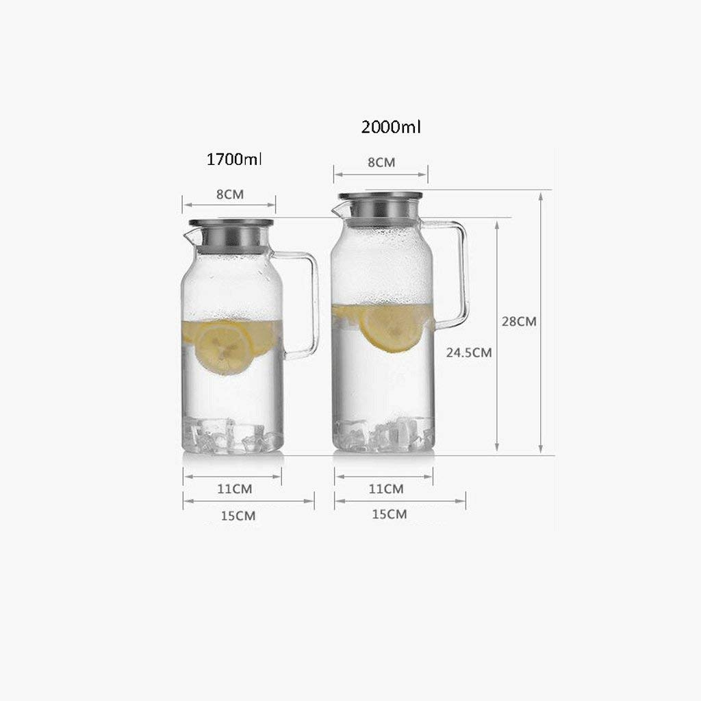 High Temperature Resistance ZS Heat Resistant Glass Cold Water Bottle Set Household 2 Liter Large Capacity Cup Teapot Stacked Cup of Water Bottle (Capacity : 2000ml) (Size : 2000ml) by Carl Artbay (Image #2)