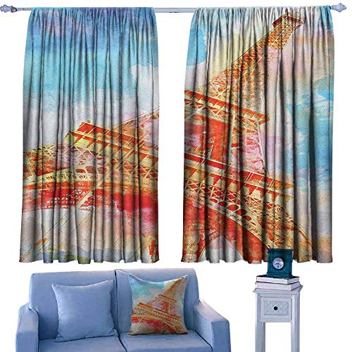 Landmark Outdoor Sconce - Eiffel Tower Customized Chid Curtains Watercolor Painted Linework Eiffel Tower Landmark Colorful Illustrated,2 Panels Bedroom Kitchen Curtains,W63 x L72 Inch
