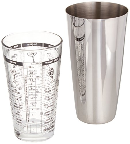 (Co-Rect 28 Oz. Stainless Steel Boston Shaker & 16 Oz. Recipe Mixing Glass Kit)