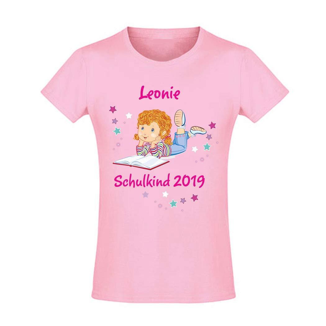 Mein Zwergenland T-Shirt tailliert M/ädchen Schulanfang Schulkind 2019 M/ädchen mit Schulbuch