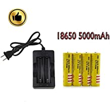 5000mah 18650 Battery with charger, 3.7V Rechargeable Protected Lithium li-ion Battery for headlamp&flashlight&led light and other electronic devices