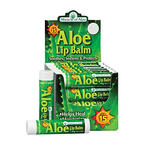 24 piece display SPF-15 Sunscreen Aloe Lip Balm, 15 oz stick
